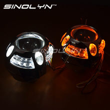 Sinolyn Q5 Металл 3.0 дюймов D2S D2H Bi Xenon HID объектив проектора лампы LED DRL Ангельские глазки Halo w/wo поворотов H4 стайлинга автомобилей