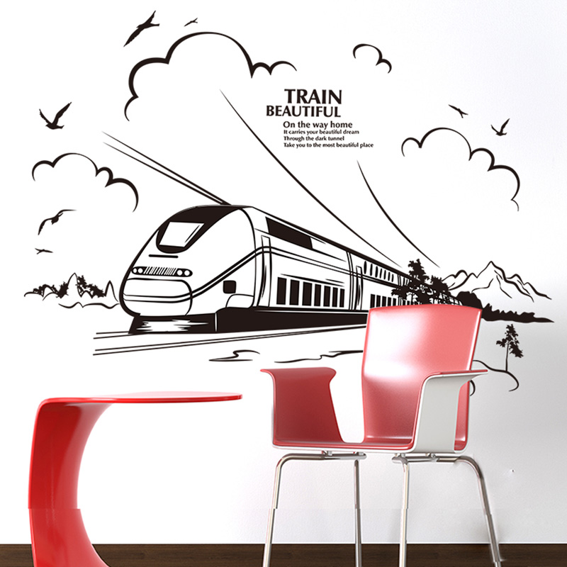 [SHIJUEHEZI] Customized Train Wall Sticker PVC Material Handmade Wall Decals for Living Room Office Restaurant Mural Art