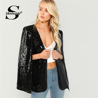 Sheinside Black Open Front Sequin Coat Women Workwear Outerwear Casual Clothes 2018 Female Tops Autumn Womens Coats And Jackets