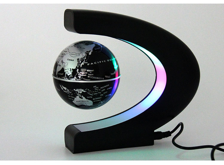 Novelty C Shape LED World Map Floating Globe Magnetic Levitation Light Antigravity Magic/Novel Lamp Birthday Home Dec Night lamp novelty round led world map floating
