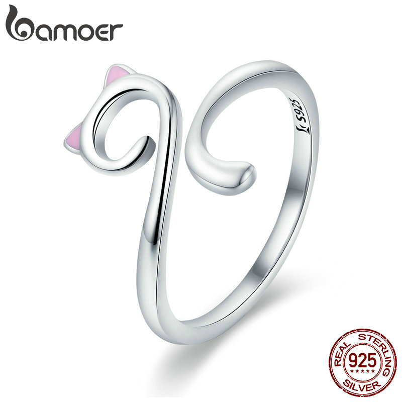 BAMOER Hot Sale Authentic 925 Sterling Silver Naughty Cat Nail Pussy Open Size Finger Ring for Women Party Ring Jewelry SCR341