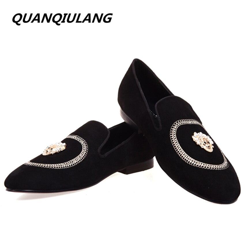 Bordado 39 Moda Negro Nueva Zapatos Hecho Del Partido Hombres Hombre Envío Gratis A La Diamantes Boda 47 Planos Genuino Los Y Mano De Tamaño Holgazanes Cuero 51x4qwdxA