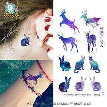2sheets R3004 Disposable Waterproof 3d Tattoo Sticker Color Runs Elk Pattern Temporary Tattoo Stickers Flash Fake Tattoo Foil De