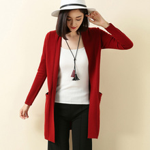 Hot Sell Autumn And Winter New Long Paragraph Cashmere Sweater Women Casual Pure Wild V – Neck Buttonless Cardigan Free Shipping