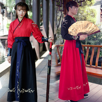 Ancient Chinese Costume Men Performance Outfit For Dynasty Women Red Hanfu Costume Satin Robe Chinese Traditional Dress DN2588