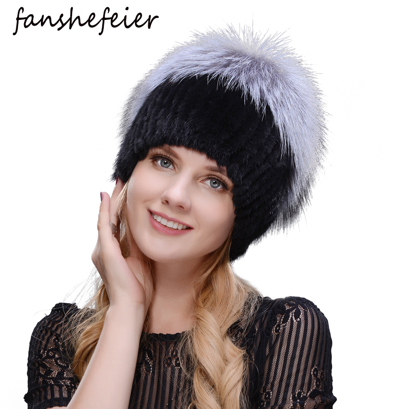 Fanshefeier Brand New Women's Fur Hat Women Winter Mink Beanies Real Knitted Mink Silver Fox Fur Caps Female Warm Beanies Hat