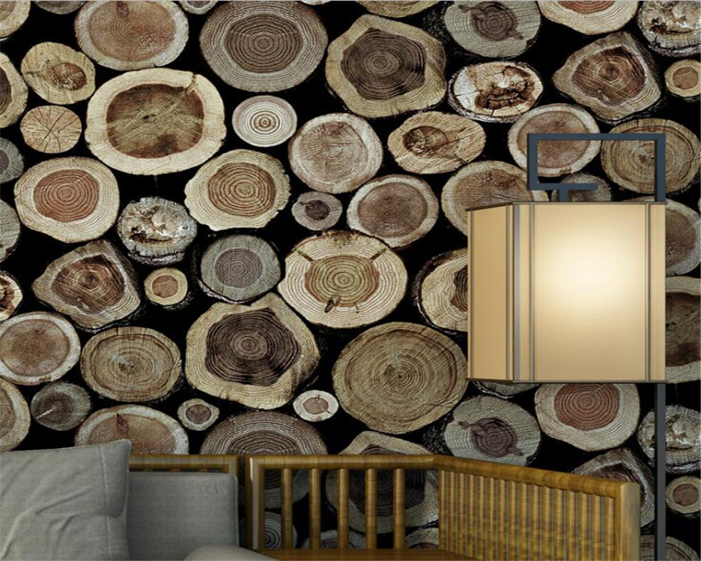 Beibehang 3d wallpaper stumps wooden wallpaper tea house for 3d wood wallpaper