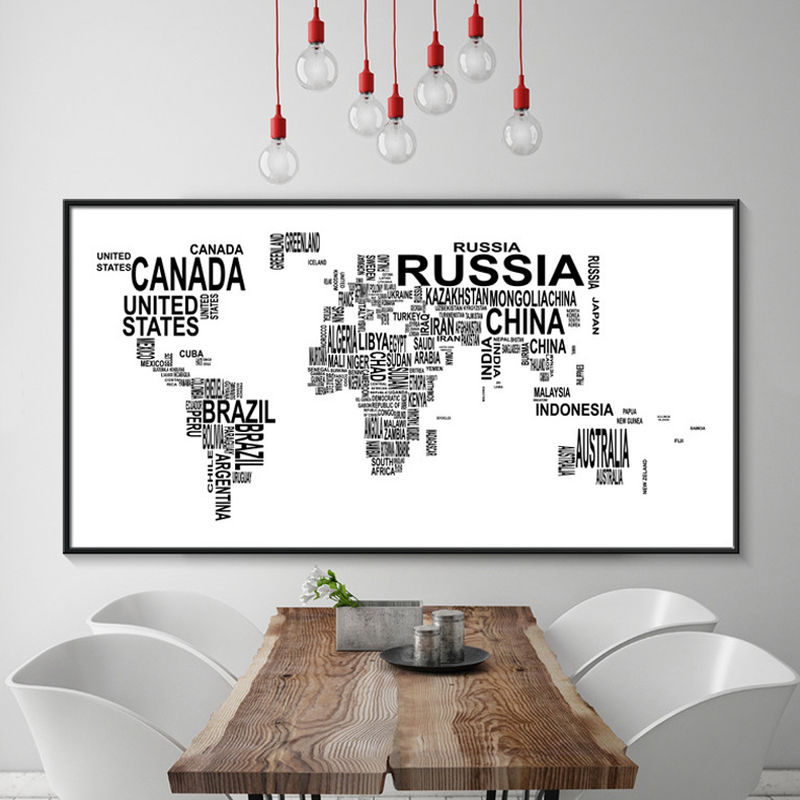 Black and White World Map Canvas Painting Letters Art Posters Prints Large Wall Pictures for Living Room Home Decor No Frame