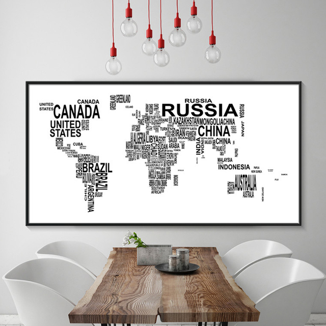 Modern world map canvas painting black white letters art posters modern world map canvas painting black white letters art posters prints large wall pictures for living gumiabroncs Gallery