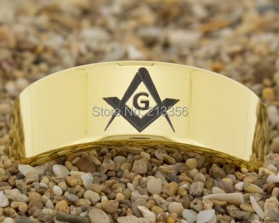 Cheap Price Free Shipping USA Hot Selling 8MM New Golden Pipe Masonic Mason Ring Men's Fashion Tungsten Ring Wedding Band Ring