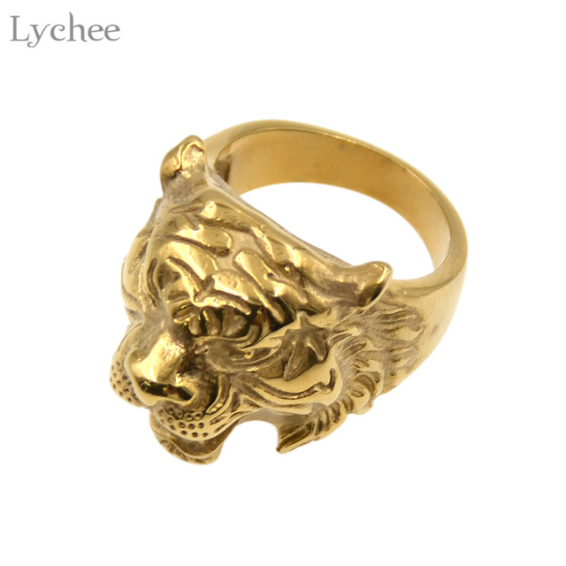 hiphop punk biker cocktail plated jewelry steel rock tiger rings stainless store new anillos hot head ring men gold product fashion