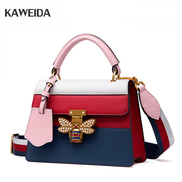 6af4f91261 Fashion Women Messenger Bag New Brand Stripes Leather Female Shoulder Bag  Luxury Diamond Little Bee Woman Handbags Strap Bags-in Top-Handle Bags from  ...