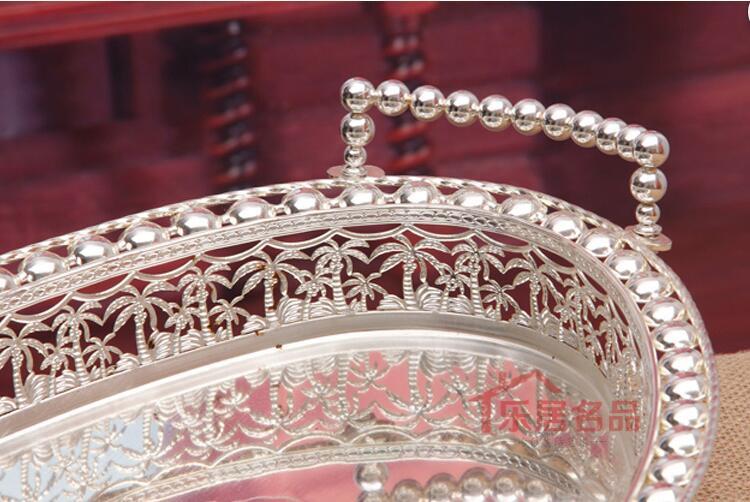 Panier à fruits en métal | Ovale découpé, plateau à dessert pour fruits, support d'assiettes, panier à fruits en métal argenté décoration plateau de service FT031 50x30cm - 3