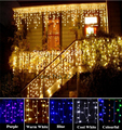 Connectable String Lights 96LED 3M Droop 0.8M Curtain Icicle String Led Lights 220V EU Xmas Wedding Party Outdoor Decoration