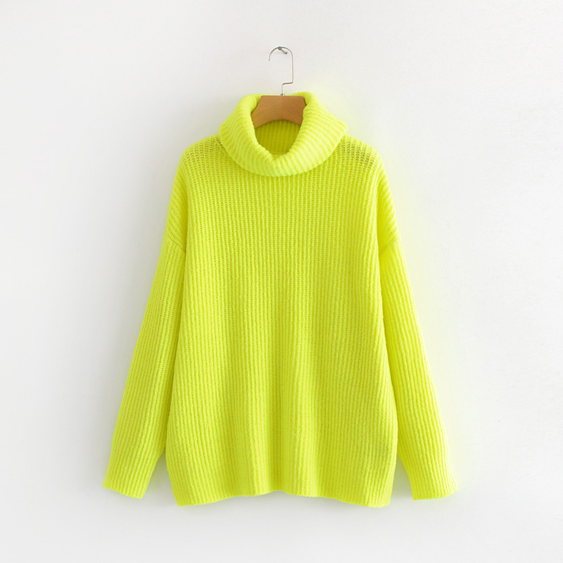 3b4ea8322f6 PERHAPS U women neon sweater knitted green fuchsia pink solid turtleneck pullovers  long casual winter loose