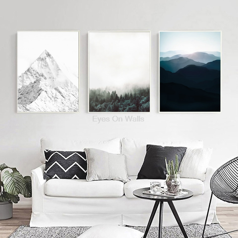 nordic landscape poster print scandinavian canvas painting. Black Bedroom Furniture Sets. Home Design Ideas
