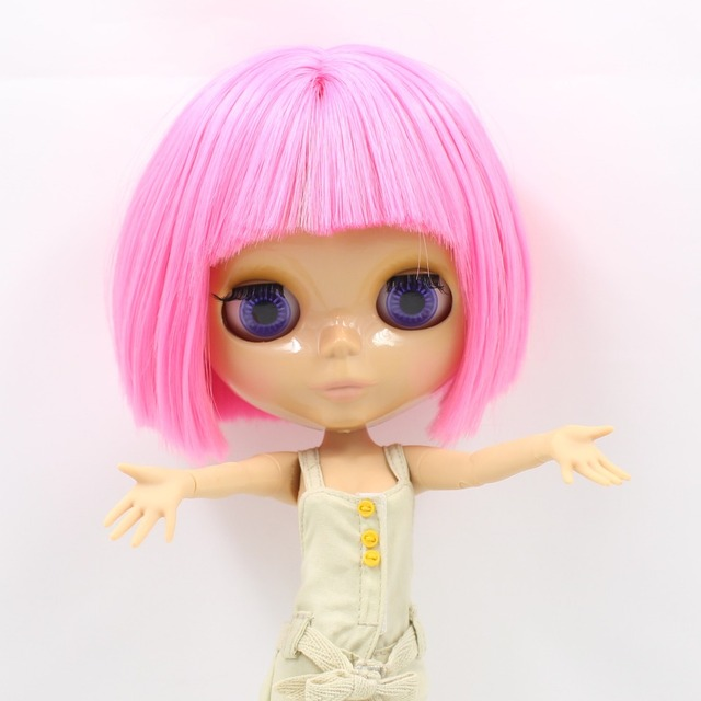 TBL Neo Blythe Doll Short Pink Hair Tanned Skin Jointed Body