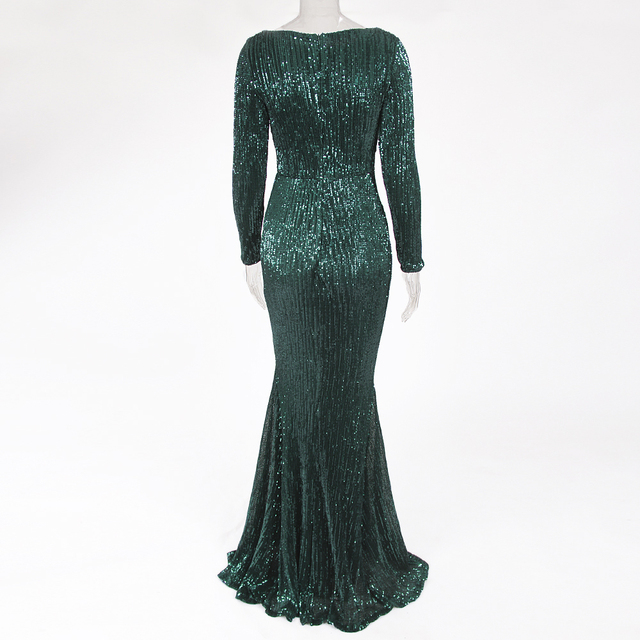 Green Sequined O Neck Evening Party Dress Maxi Dresses Elegant Sequin Floor Length Dress Gown 3