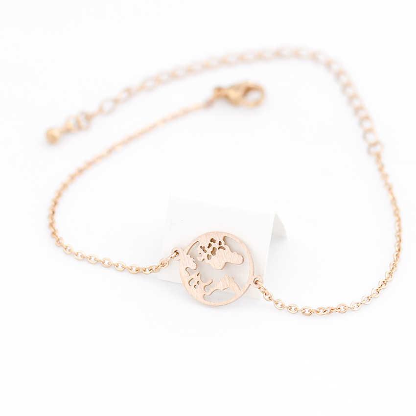 Sprzedaż hurtowa 10 sztuk ze stali nierdzewnej mapa świata bransoletka kobiety mężczyźni Globe podróży biżuteria na zewnątrz Bracciali Donna