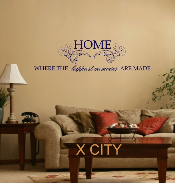 Home Happiest Memories Quote WORDS WALL ART STICKER MURAL VINYL ...