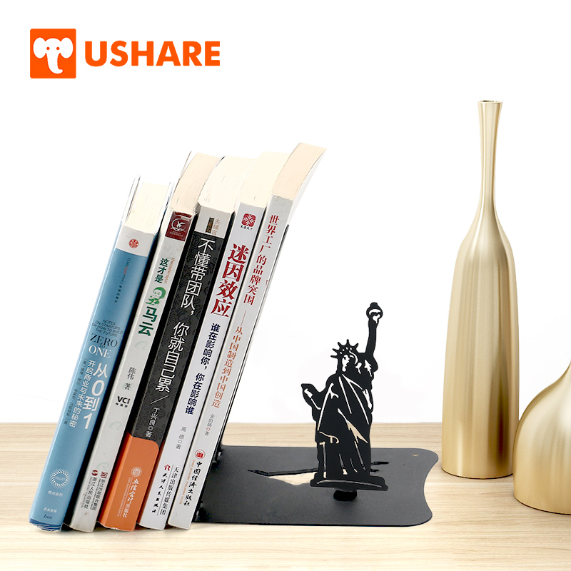 Ushare Decorative Bookends Metal Statue Of Liberty Bookshelf Books Holder For Books Support Desk Organizer Home School Supplies Attractive Fashion Bookends Office & School Supplies