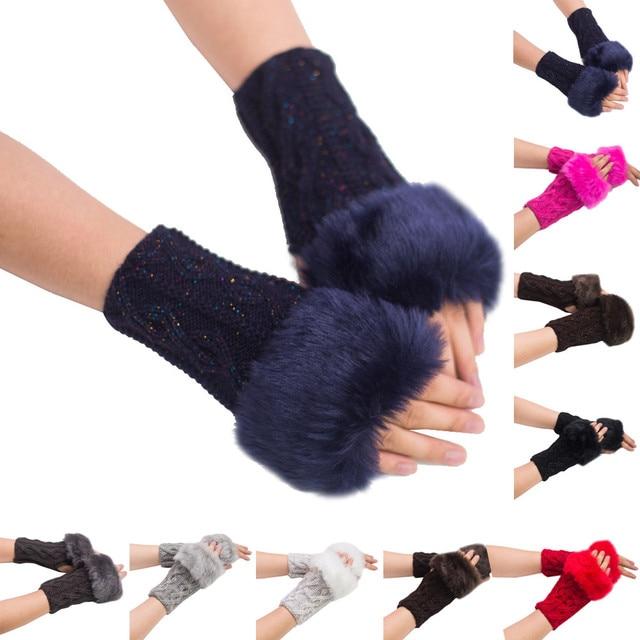 Fashion Women Girl Warm Winter Faux Rabbit Fur Wrist Fingerless Gloves Mittens