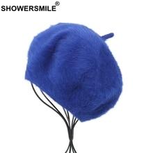 SHOWERSMILE Women Berets Cap Elegant Solid Rabbit Fur Hats Lady Spring Autumn Sky Blue Fashion Casual Beret Female Artist