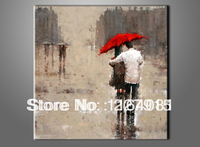 Free shipping Oil painting on canvas handmade wall art modern rain landscape picture two people walk under the red umbrella
