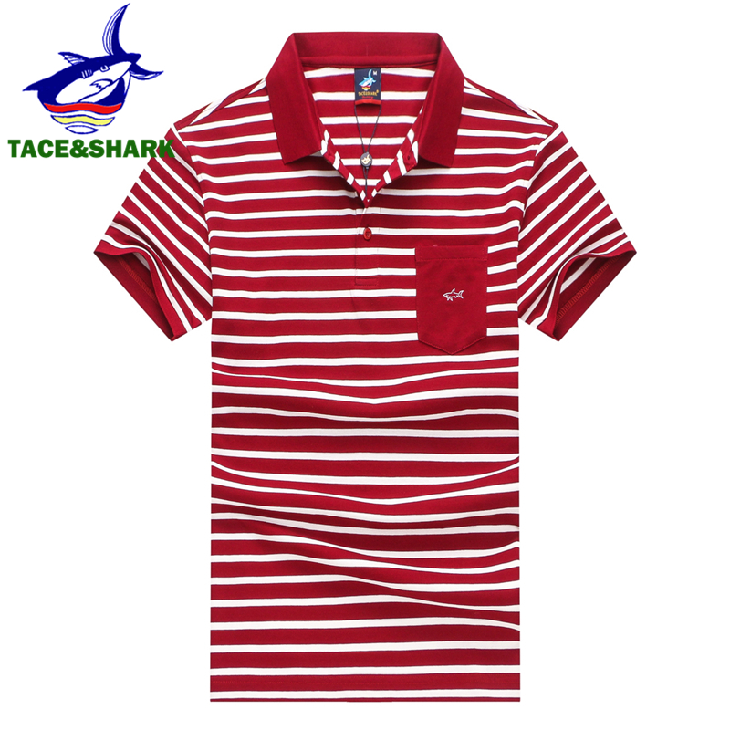 TACE&SHARK Brand Red   Polo   Homme Fashion Casual Stripe Embroidery Shirts Shark Camisa   Polos   Flag Summer Men Clothes 2018