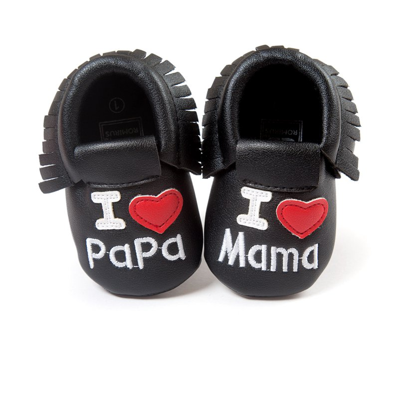 Baby Soft Leather Shoes For Kids Tassel Moccasins Baby First walkers Shoes Moccasin Fringe I LOVE PAPA design