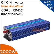 2000ワット60ボルト/72VDCに110ボルト/220vacオフグリッド純粋な正弦波単相ソーラーまたは風力発電インバータ、サージ電力4000ワット