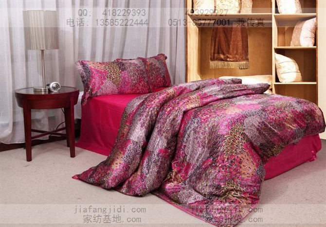 Red Hot Pink Peacock Feather Luxury Mulberry Silk Bedding