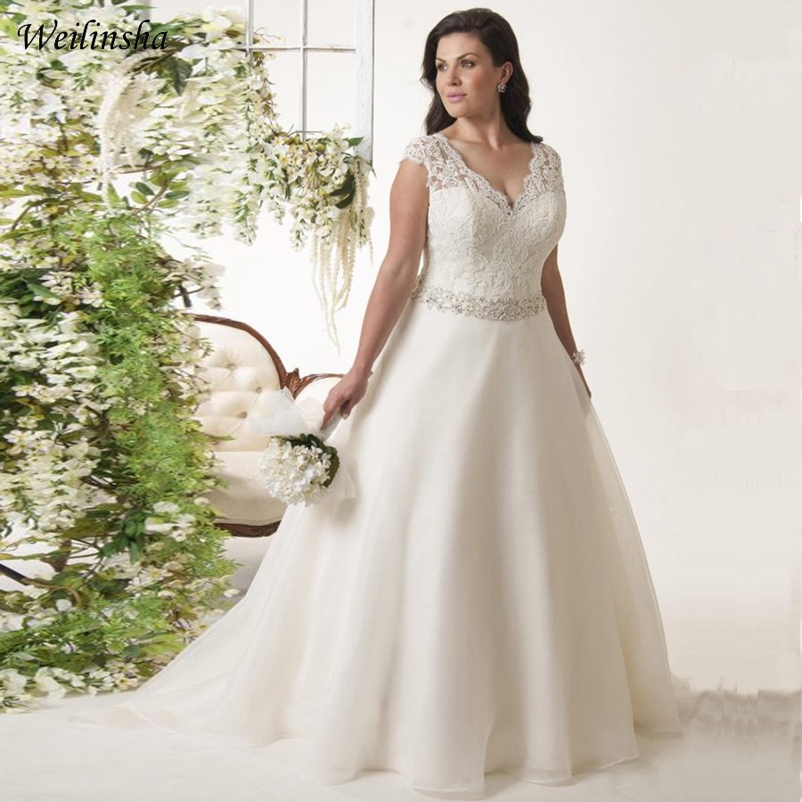 Weilinsha New Arrival Plus Size Wedding Dress Cap Sleeve Beaded Belt Organza Bridal Gowns Vestidos De