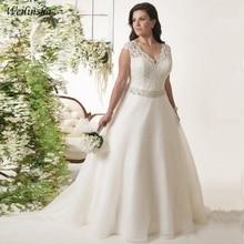 Weilinsha nova chegada plus size vestido de casamento boné manga frisada cinto organza vestidos de noiva novia sem costas
