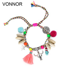 Womans Bracelets Bohemian Jewelry Summer Colorful Accessories Handmade Beaded Shell Alloy Pendant Friendship Strand Bracelet
