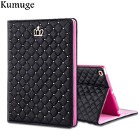 Case for Apple iPad 9.7 inch 2017 Crown Grid PU Leather Full Body Tablet Stand Cover Coque for iPad Model A1822 A1823+Film+Pen