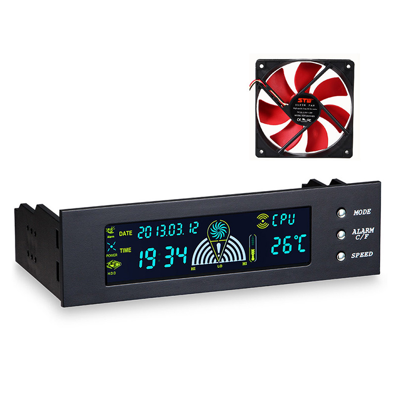 <font><b>5.25</b></font> inch PC <font><b>Fan</b></font> Speed Controller Temperature Display LCD Front Panel For Computer Durable Controller Air-cooled <font><b>Fan</b></font> Control image