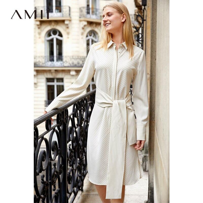 Amii Minimalist Stripe Shirt Dresses Women 2018 Spring Causal Long Sleeve Notched Lace Up Belt Elegant
