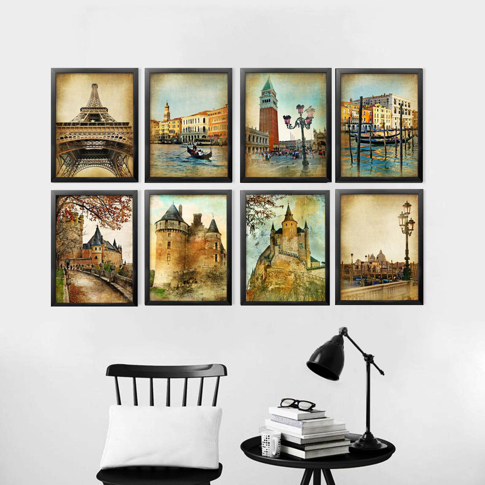 Old Building Decoration Wall Art Canvas Painting Cadre ...