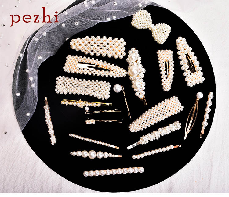 Pearl hairpin ins word Headpiece geometric clip   Headwear   lady barrette adult BB Clip Jewelry Accessories