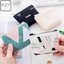 XZP Canvas Purse Card Key Mini Purse Pouch Canvas Bag Small Zipper Coin Purse Card Holder Wallet Geometry Four Colors Available цена