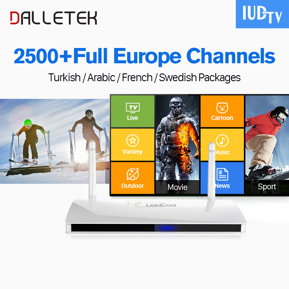 IPTV Europe Leadcool Smart Android 6.0 IP TV Box Dalletektv Iptv Italy Portugal French IUDTV Subscription Europe Arabic IPTV Box