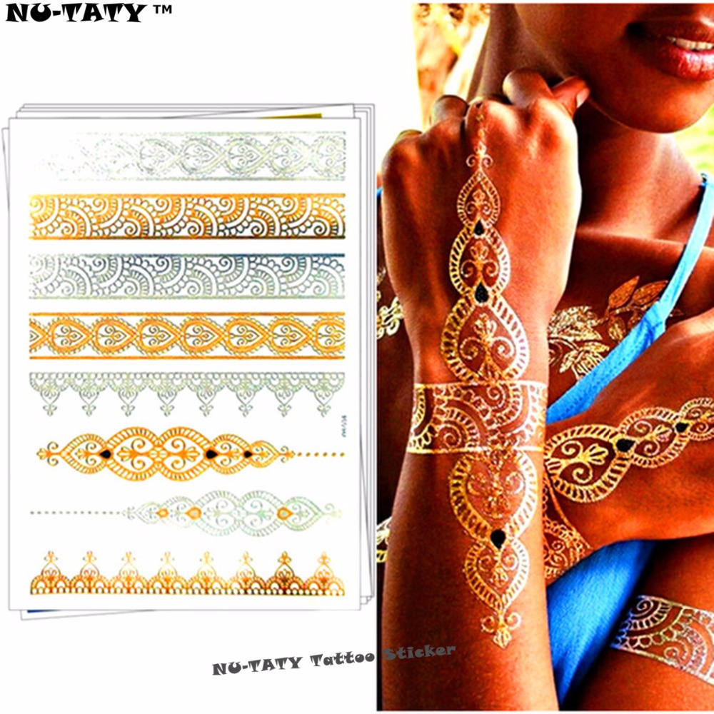 Nu-TATY 24 style Temporary Tattoo Body Art, Lace Desgin Gold Designs, Flash Tattoo Sticker Keep 3-5 days Waterproof 21*15cm