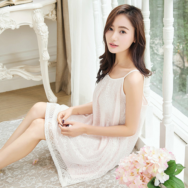 Summer Japanese cute girl nightdress long thin cotton lace Princess sweet  white gown skirt c69ace6a9