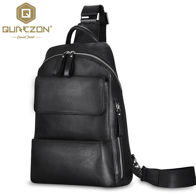 QUREZON Brand Genuine Leather Bag Men Sling Single Shoulder Crossbody Bags for Man Messenger Casual Leather Bag Bolsas Masculina
