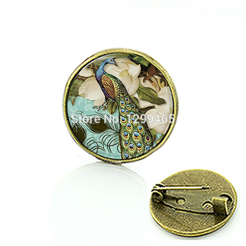 Beautiful Color feather Peacock jewelry art pture brooch lass cabochon dome medal personalized gift for men and women C 648
