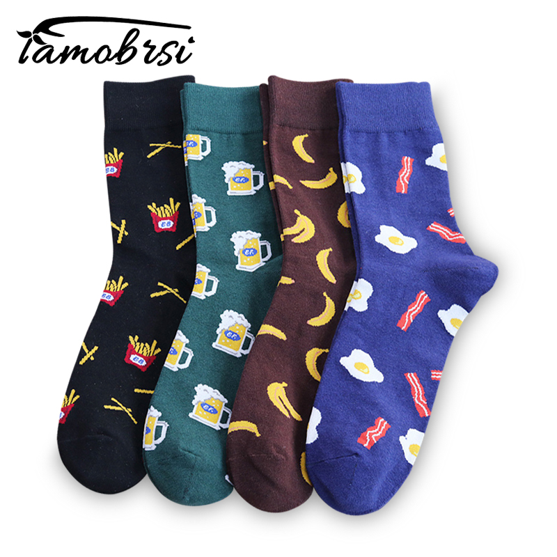 2019 French Fries Omelette Banana Harajuku Crazy Cotton Funny Women Casual Beer Socks Men Cool Skate Novelty Happy Short Socks