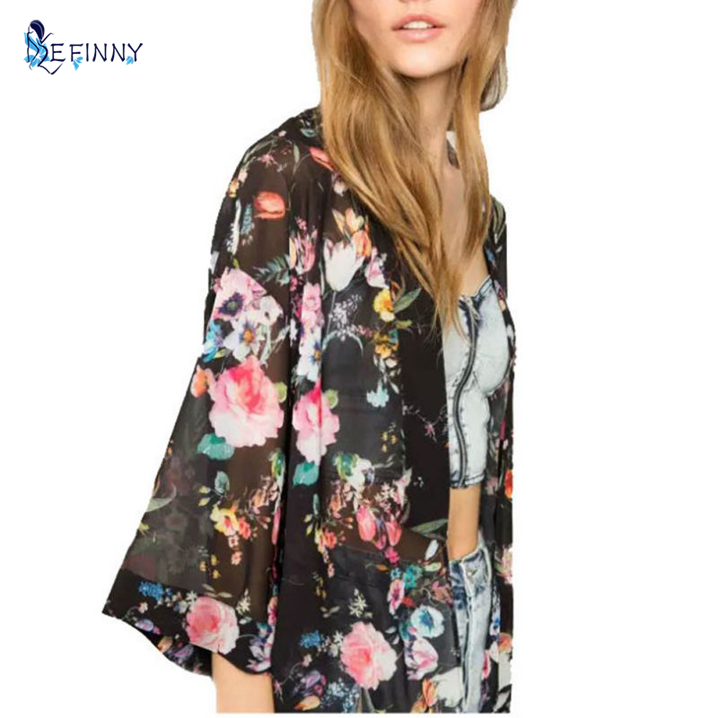 EFINNY Foral Print Womens Chiffon Long Blouses Vintage Half Sleeve Loose Print Tops Clothes Plus Size Stylish