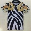 [Amy] t-shirt do verão Dos Homens/Mulheres de Ouro flores amarelas tarja imprimir-manga curta casuais t 3d camisa marca top tees tamanho M-XXL