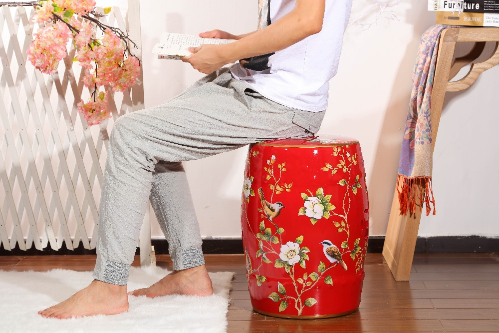 Festival Chinese Red Porcelain  Decorative Ceramic Garden Stool вокальный микрофон ld systems handheld transmitter roadboyb5